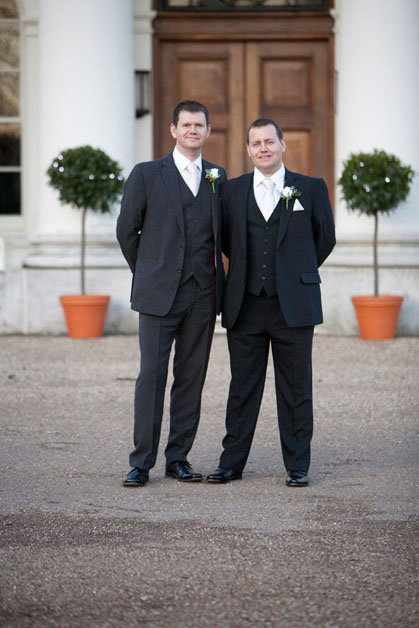 groom and best man outside Hylands House