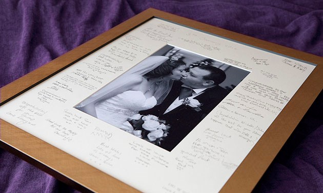 wedding signature mount gold frame