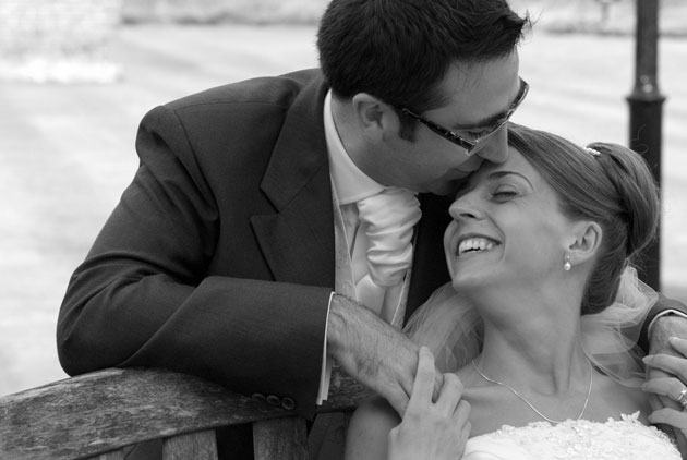 relaxed portrait bride and groom channels essex