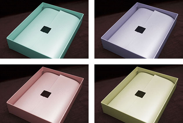 Matching coloured boxes for photo albums