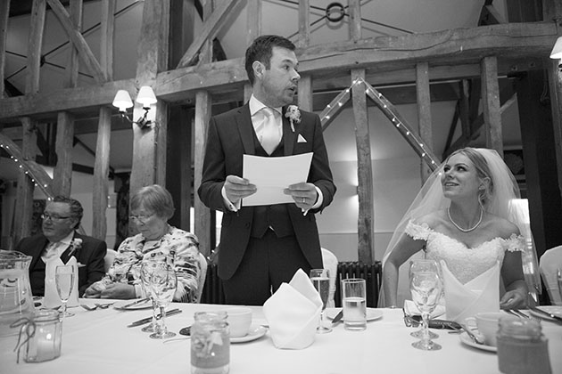 Groom wedding speeches Essex Barn Channels Essex