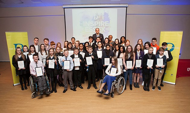group photo of award winners at the Diana awards ceremony Chelmsford