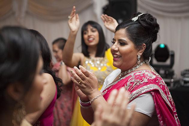 Indian woman dancing at party