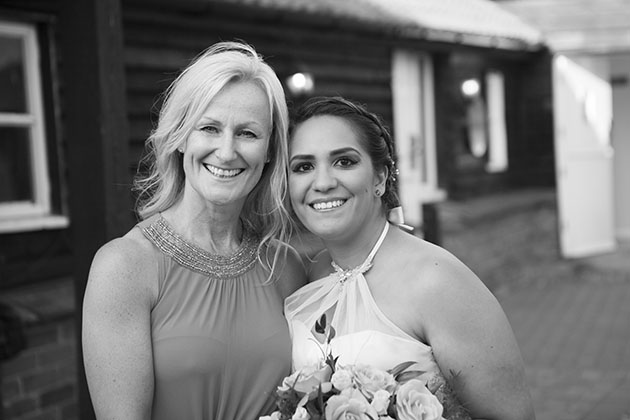 Bride and friend with heads together