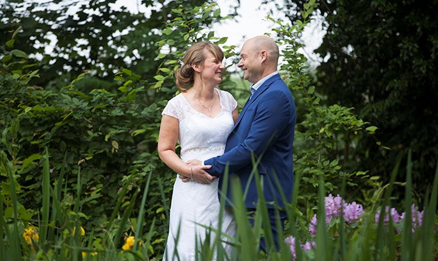 Bride and groom in the grounds at Pontlands Park